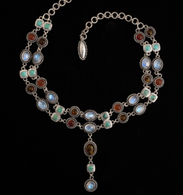 Handcrafted Sterling Silver Gemstone Choker with Rainbow Moonstone, Turquoise, Amber & Carnelian
