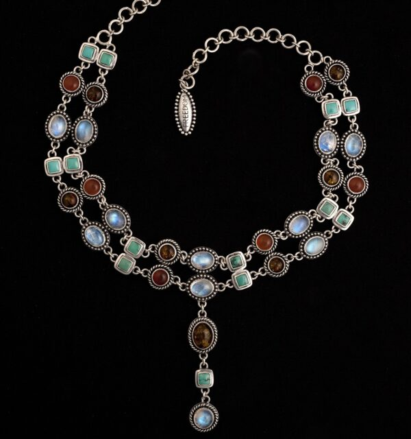 Sterling Silver Gemstone Choker with Moonstone, Turquoise, Amber & Carnelian