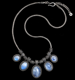 Handcrafted Sterling Silver Moonstone Necklace with Rainbow Moonstones