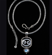 Sterling Silver Cancer Necklace with Rainbow Moonstone