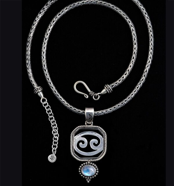 Sterling Silver Cancer Zodiac Necklace with Rainbow Moonstone