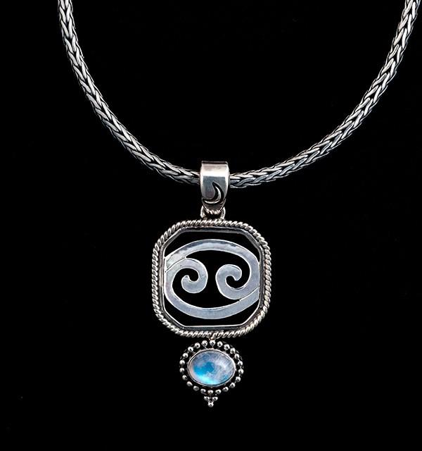 Sterling Silver Cancer Zodiac Necklace