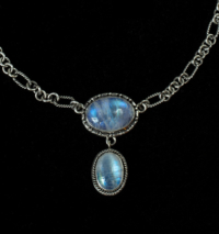 Sterling Silver Rainbow Moonstone Drop Necklace