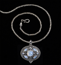Handcrafted Sterling Silver Balinese Moonstone Necklace with Rainbow Moonstones