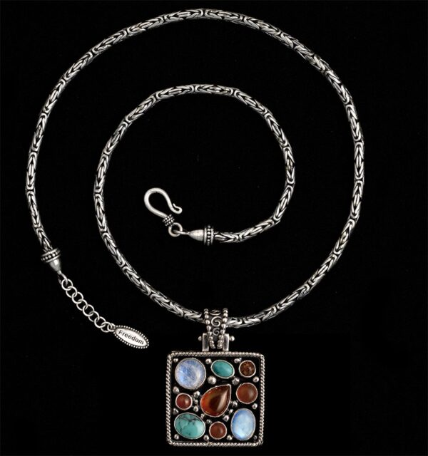 Handcrafted Moonstone Gemstone Necklace in Sterling Silver with Turquoise, Amber & Carnelian