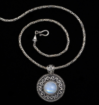 Handcrafted Balinese Silver Moonstone Necklace with Rainbow Moonstone