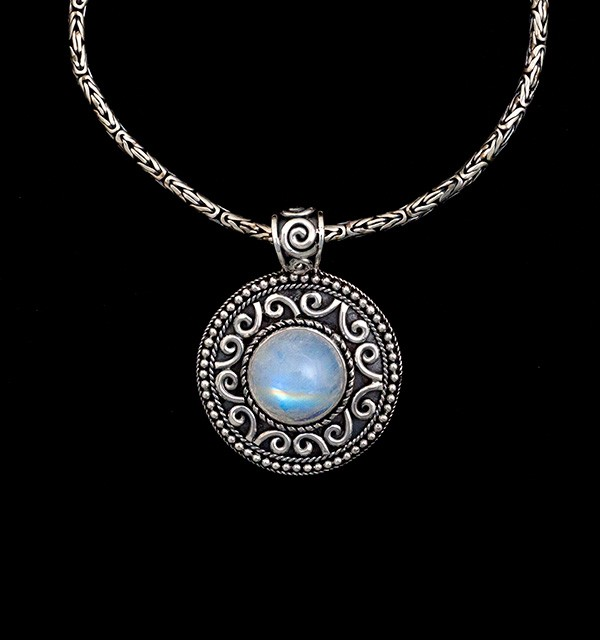 Balinese Sterling Silver Rainbow Moonstone Necklace