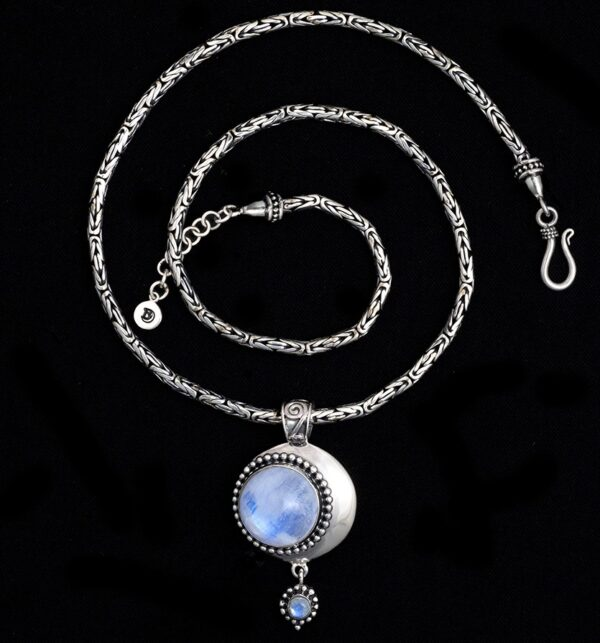 Handcrafted Sterling Silver Moonstone Moon Necklace with Rainbow Moonstones