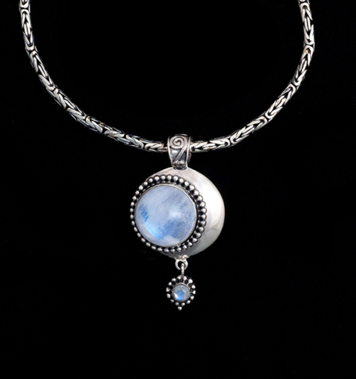 Sterling Silver Rainbow Moonstone Moon Necklace