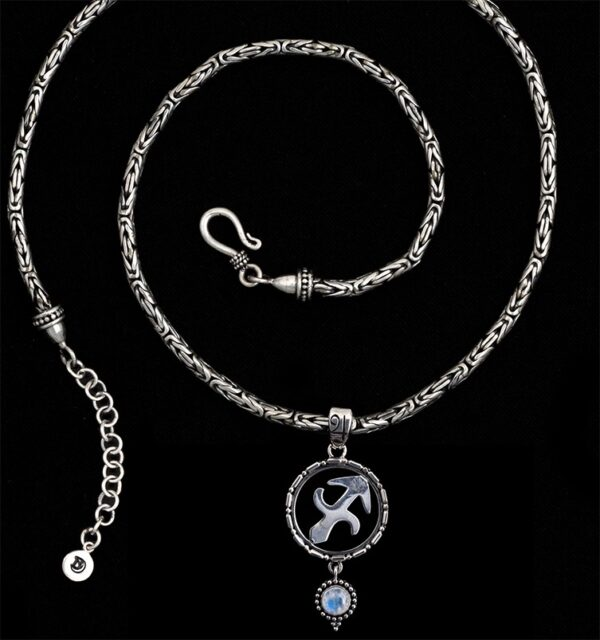 Sterling Silver Sagittarius Necklace with Rainbow Moonstone