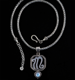 Sterling Silver Scorpio Necklace with Rainbow Moonstone