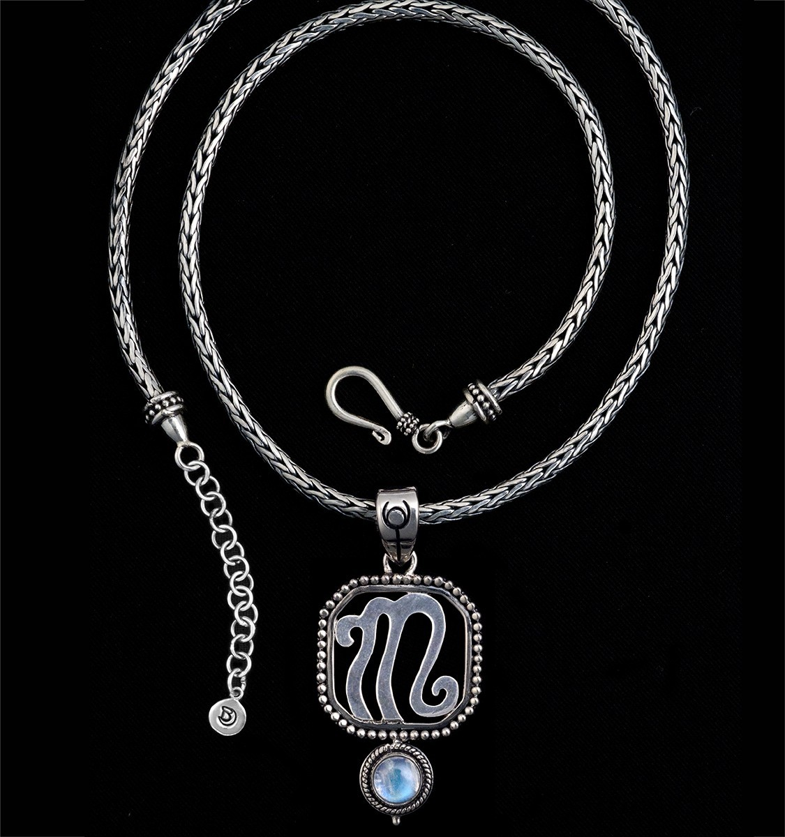 Sterling silver scorpio necklace scorpio bluemoonstone creations sterling silver scorpio necklace with rainbow moonstone mozeypictures Image collections