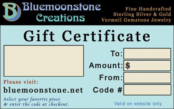 Bluemoonstone Creations Gift Certificate