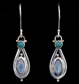 Handcrafted Moonstone Turquoise Silver Earrings with Rainbow Moonstones & Tibetan Turquoise