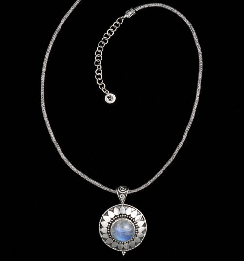 Handcrafted Sterling silver Moonstone sun necklace with Rainbow Moonstone