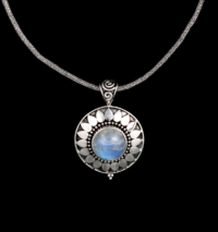 Sterling Silver Rainbow Moonstone Sun Necklace
