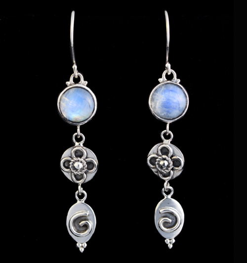 Moonstone Dangling Earrings in Sterling Silver with Rainbow Moonstones