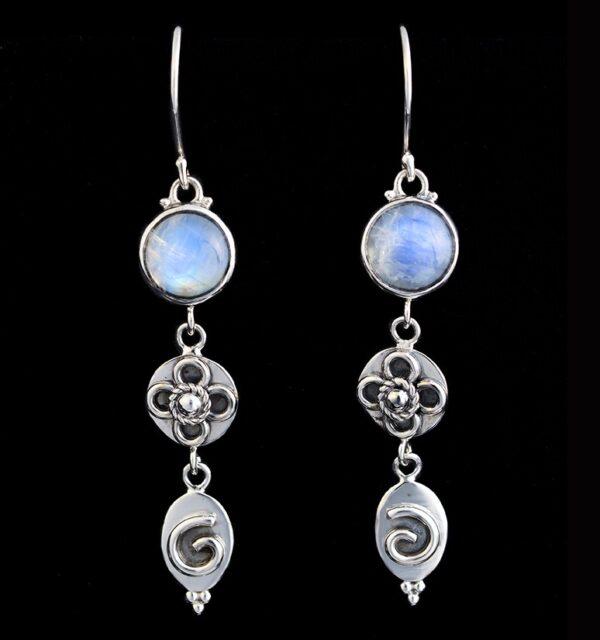 Moonstone Dangling Earrings in Sterling Silver with Rainbow Moonstones
