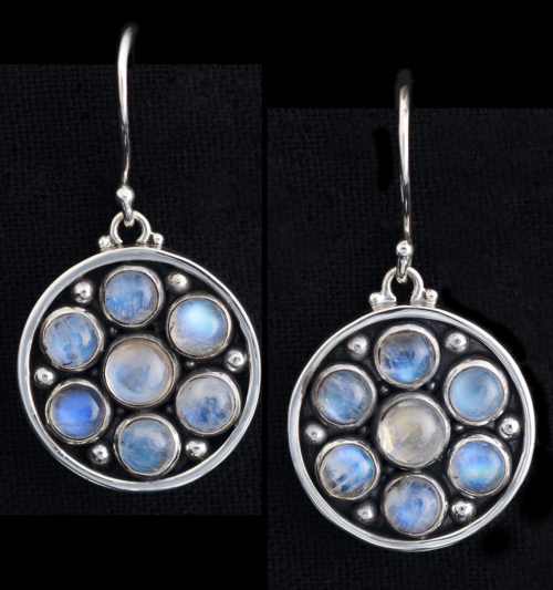 Moonstone Silver Earrings with Rainbow Moonstones handcrafted in Sterling Silver