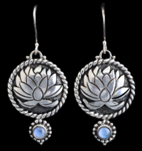 Moonstone Lotus Earrings handcrafted in Sterling Silver with Rainbow Moonstones