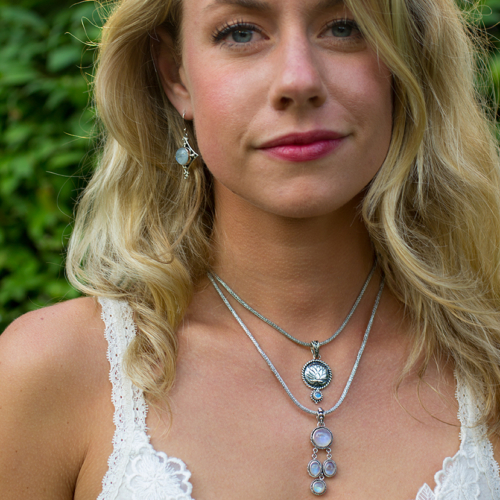 Sterling Silver Moonstone Lotus Necklace handcrafted with Rainbow Moonstone