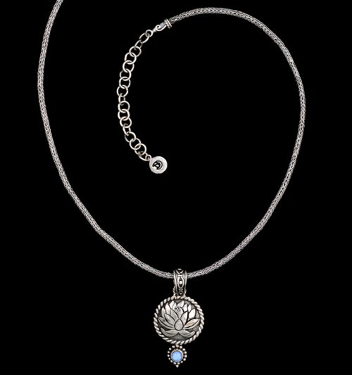 Handcrafted Sterling Silver Moonstone Lotus Necklace with Rainbow Moonstone