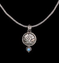 Silver Rainbow Moonstone Lotus Necklace