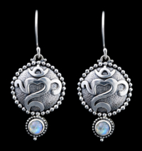 Handcrafted Sterling Silver Balinese Om Earrings with Rainbow Moonstones