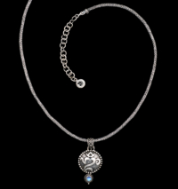 Handcrafted Sterling Silver Balinese OM Necklace with Rainbow Moonstone