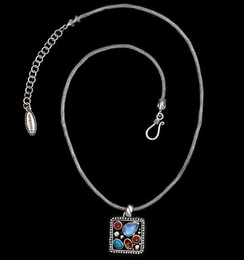 Handcrafted Multi Gemstone Sterling Silver Necklace with Rainbow Moonstone, Turquoise, Amber & Carnelian