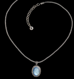 Handcrafted Sterling Silver Rainbow Moonstone Necklace with oval Moonstone