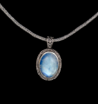 Sterling Silver Rainbow Moonstone Necklace