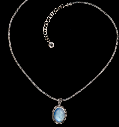 Sterling Silver Oval Rainbow Moonstone Necklace