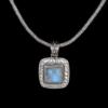 GiftJewelryShop Cursive Heart Tia Crescent Moon Galactic Universe Glass Cabochon Pendant Necklace