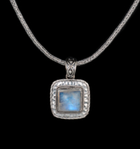 Square Rainbow Moonstone Necklac