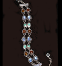 Handcrafted Multi Gemstone Silver Bracelet in Sterling Silver with Moonstone, Turquoise, Amber & Carnelian