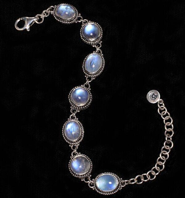 Handcrafted Rainbow Moonstone Sterling Silver Bracelet