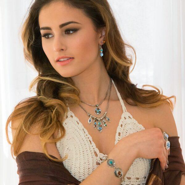 Sterling Silver Multi Gemstone Bracelet with Moonstones, Turquoise, Amber & Carnelian