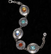 Handcrafted Silver Multi Gemstone Bracelet in Sterling Silver with Moonstone, Turquoise, Amber & Carnelian