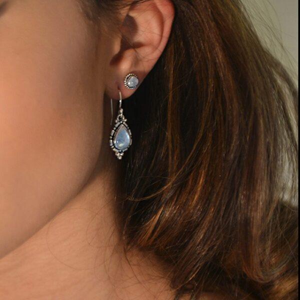 Handcrafted Sterling Silver Rainbow Moonstone Earrings