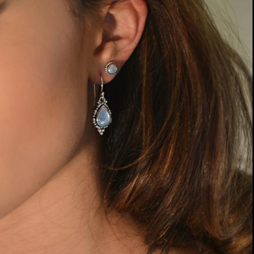 Handcrafted Sterling Silver Rainbow Moonstone Stud Earrings