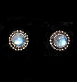 Handcrafted Silver Rainbow Moonstone Stud Earrings in Sterling Silver