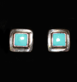 Handcrafted Sterling Silver Turquoise Studs with Tibetan Turquoise