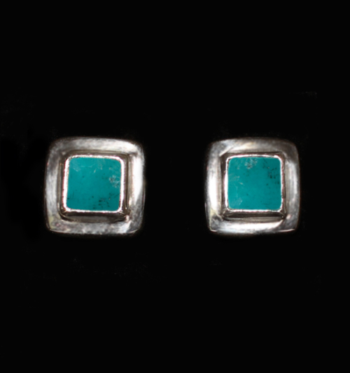 Sterling Silver Tibetan Turquoise Studs