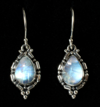 Handcrafted Silver Rainbow Moonstone Earrings in Sterling Silver