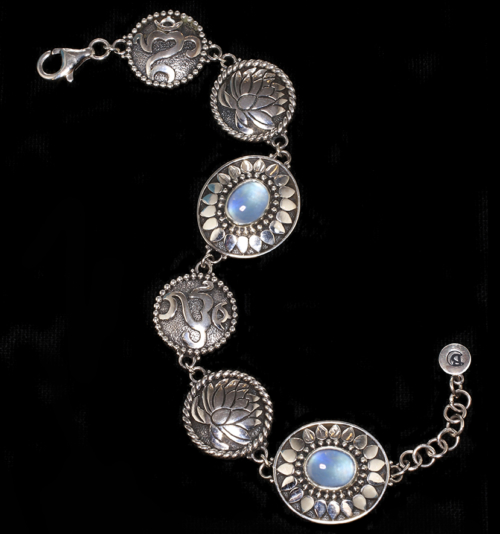Handcrafted Sterling Silver Om Lotus Bracelet with Rainbow Moonstones
