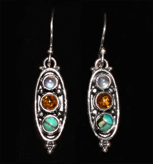 Moonstone Turquoise Earrings handcrafted in Sterling Silver with Amber