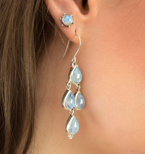 Handcrafted Sterling Silver Moonstone Stud Earrings with Rainbow Moonstones