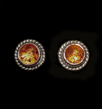 Sterling Silver Amber Studs handcrafted in Bali