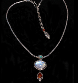 Handcrafted Sterling Silver Moonstone Amber Necklace with Turquoise & Carnelian